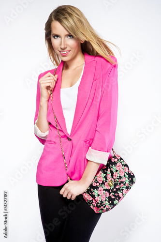 beautiful woman wearing casual clothes pink jacket and handbag