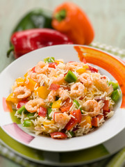 basmati rice with capsicum and shrimp, selective focus