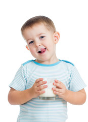 kid boy drinking yogurt or kefir isolated