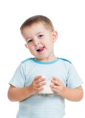 kid boy drinking yogurt or kefir isolated