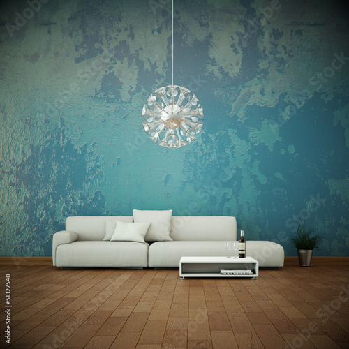 canvas print picture Sofa vor bunter Wand