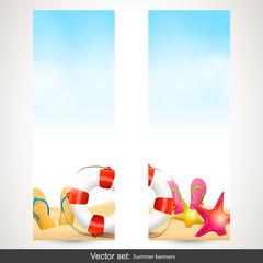 Set of vertical summer beach banners