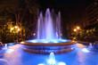 Leinwanddruck Bild - Blue illuminated fountain in Marbella, Spain