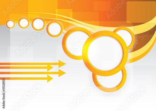 Vector orange background with circles