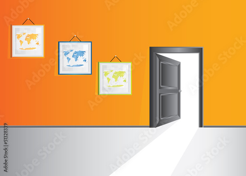 Vector room with orange wall, pictures and door