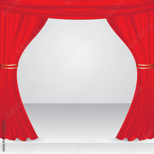 Vector stage with red show curtain
