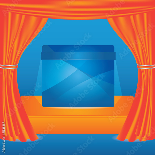 Vector stage with orange show curtain and advertising panel
