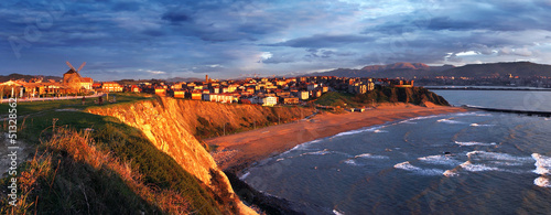Panorama of Getxo at sunset