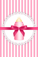 Vector pink background with bow and baby bottle