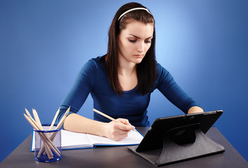 Student working with tablet