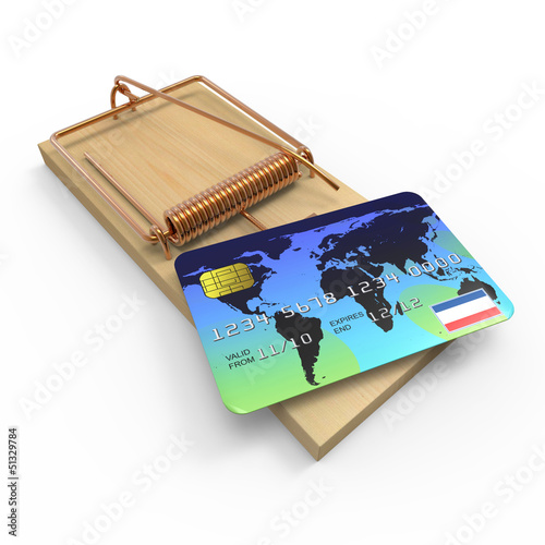 Debit card mouse trap
