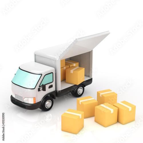 A truck and cardboard box