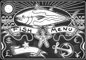 Vintage Graphic Blackboard for Fish Menu
