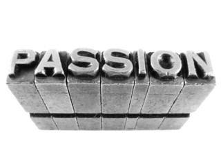 Passion sign, antique metal letter type isolated