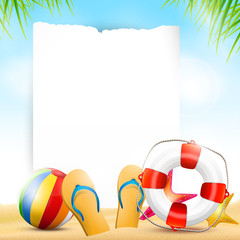 Summer beach background with empty paper