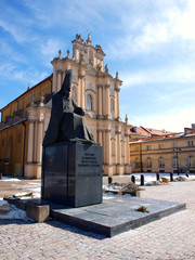 Primate Wyszynski monument and visitationist church in Warsaw