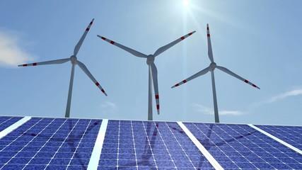 Zeitraffer mit langsamen Windanlagen und Solarzellen