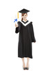 full length beautiful young graduation woman standing