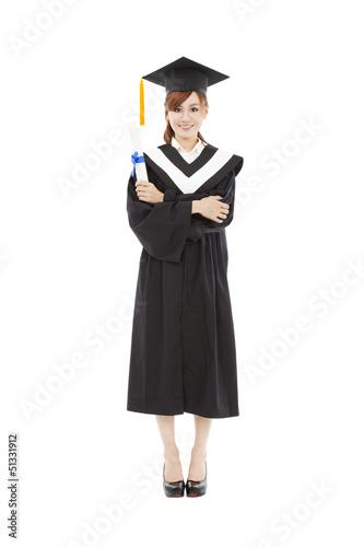 full length beautiful young graduation woman