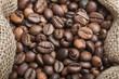 closeup coffee beans in jute bag