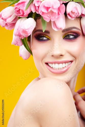woman tulip head