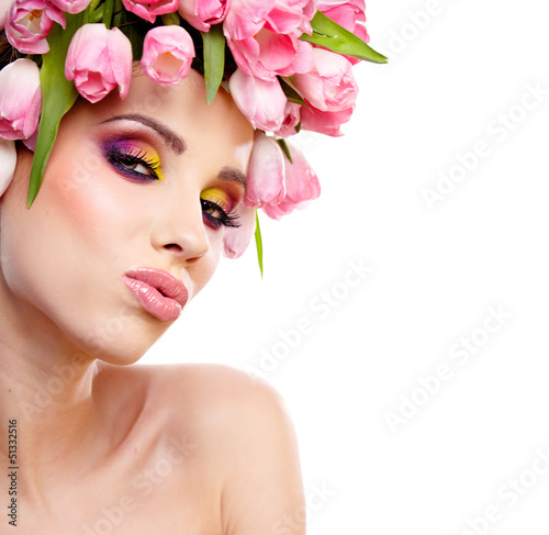 beauty woman portrait with wreath from flowers on head over whit