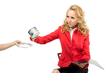 Beautiful businesswoman gives up a cup of coffee