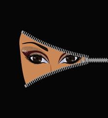 Open face muslim woman, concept. vector