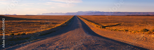 The road at sunset, pampa, Patagonia