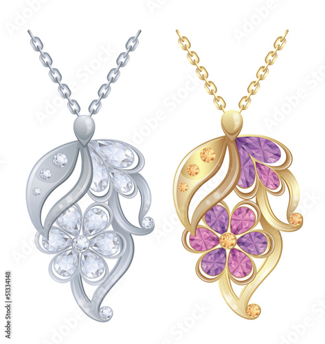 Isolated pendants with diamonds in silver and gold.