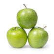 three fresh green granny smith apples
