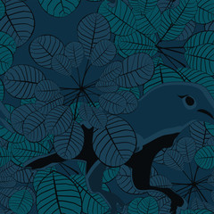 Jungle bird seamless pattern