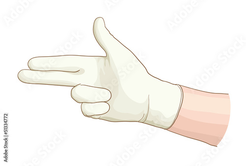 Gynecologist hand with a latex glove.