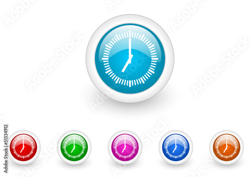 clock vector glossy web icon set