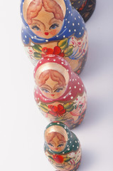 russian babushka dolls on white