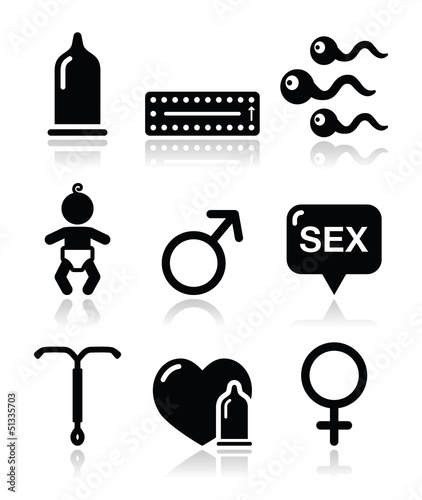 Contraception methods, sex vector icons sex