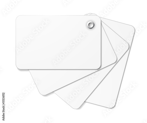 White card pack fastened together with rivet.