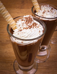 Two cups of hot chocolate and whipped cream