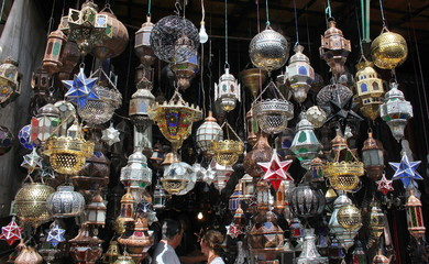 Beautiful lamps and lanterns, typical from Morocco, seen in the