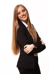 Beautiful young business woman isolated in white background