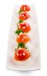 Funghetti di mozzarella e pomodorini, antipasto, fuoco selettivo