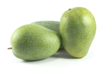 Green mangoes isolated on white background