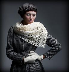Aristocratic Lady. Woman in Trendy Outwear dreaming.  Elegance