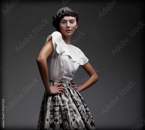 Stately Woman in Classic Elegant Blouse and Skirt. Aristocracy