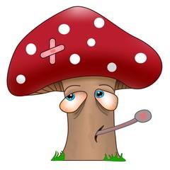 get well soon sick mushroom