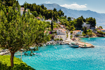 Beautiful Adriatic Bay and the Village near Split, Croatia