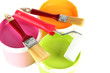 Set for painting: paint pots, brushes, paint-roller isolated