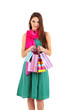 Young beautiful girl in green dress with pink scarf holding