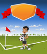 Template with young boy on football / soccer field