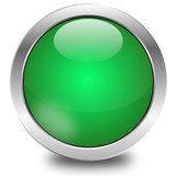 glossy green button, vector